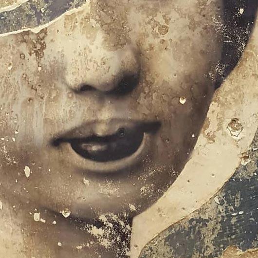 Descialbo (carboncino, bitume, tempera, intonaco) su cartone, 50x40 cm