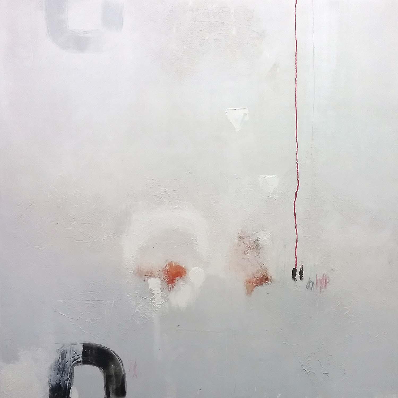 olio e cera a freddo su tela 100x100 cm