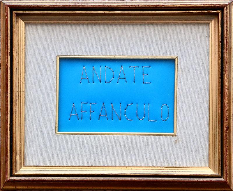 Filo di rame su plastica e cornice 27x22x4 cm