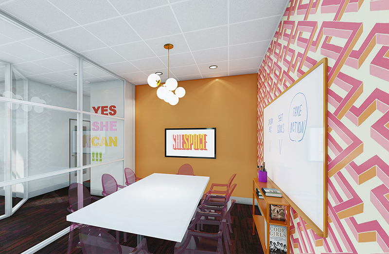 SheSpace in Houston Texas, conference room