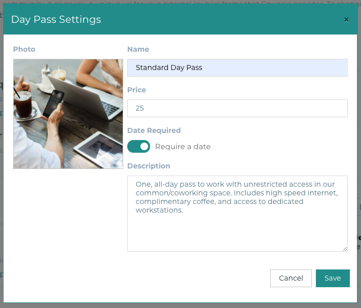 Coworks coworking software day pass interface
