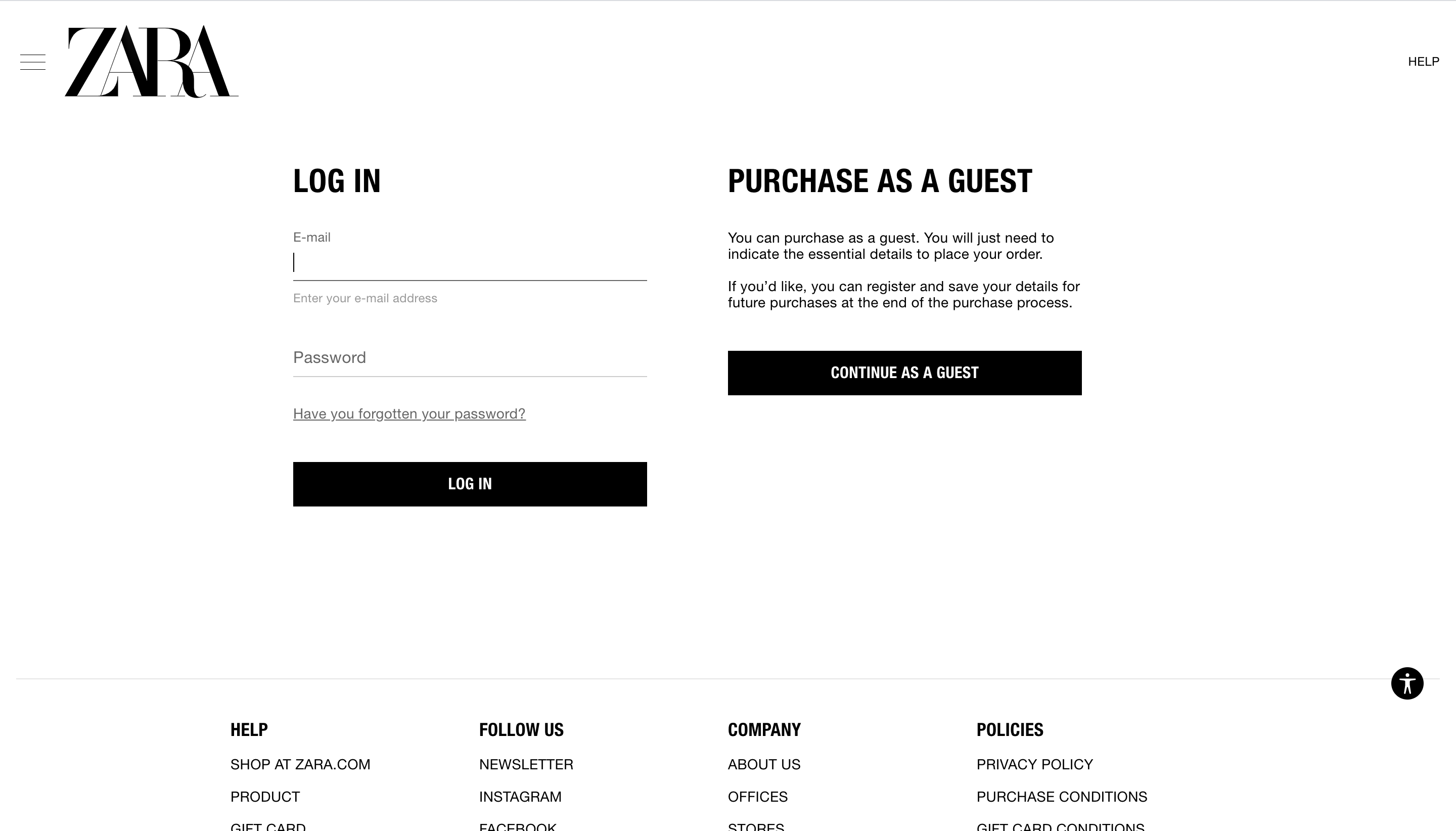 Zara's checkout form - Purchase as a guest or signup