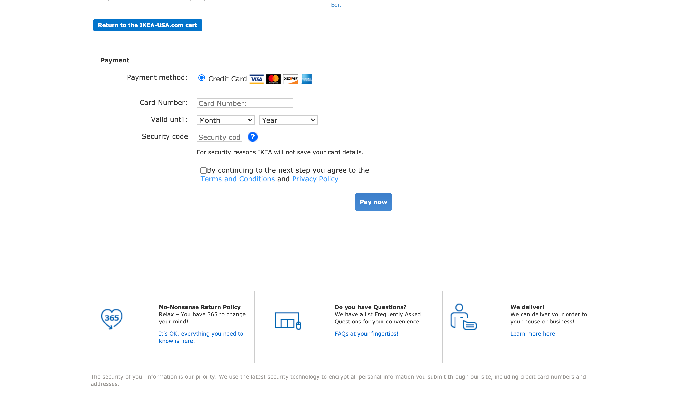 Ikea's checkout - Examples of real ecommerce checkouts