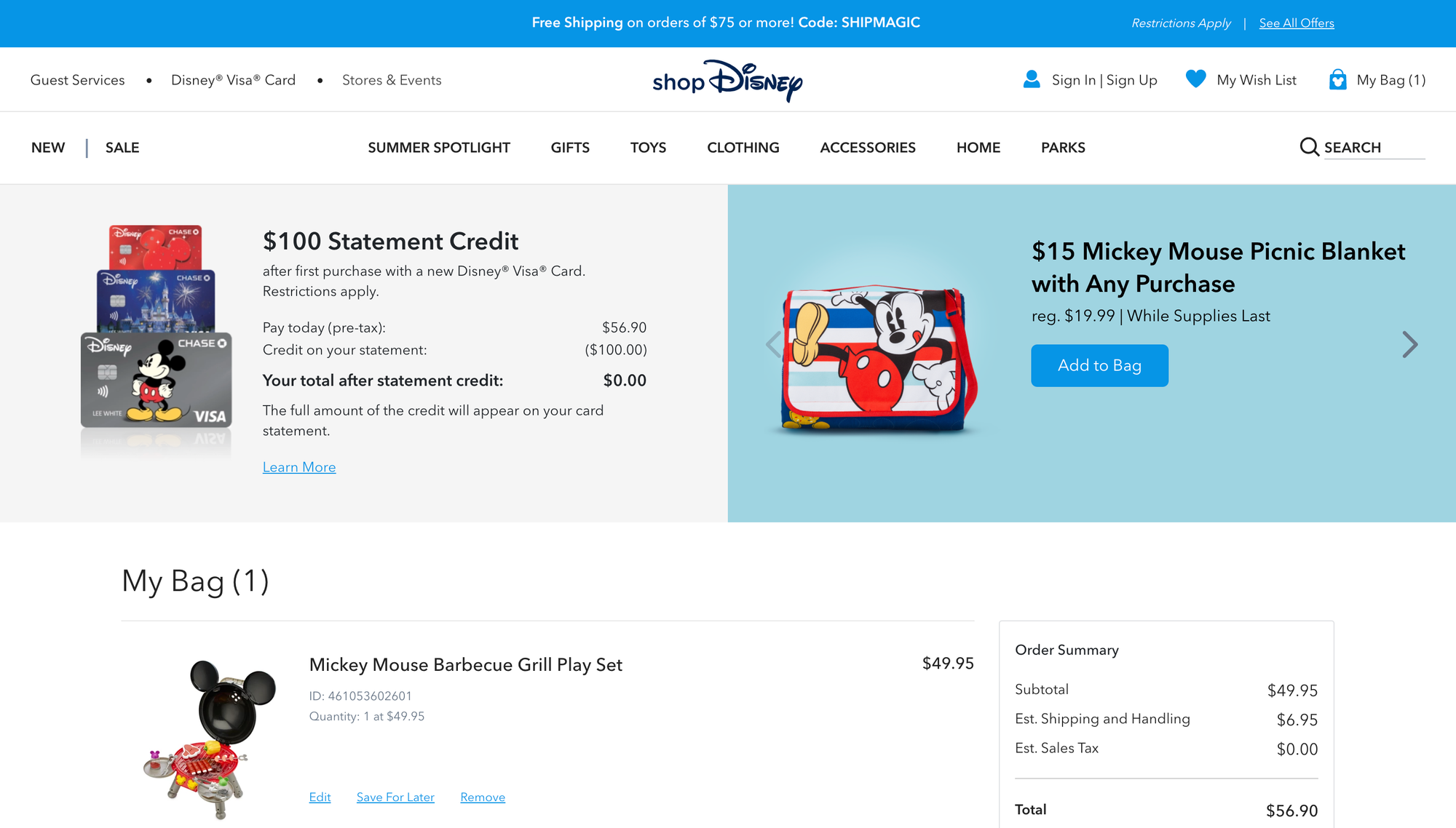 Disney's checkout form - Review and analysis of ecommerce form and checkouts