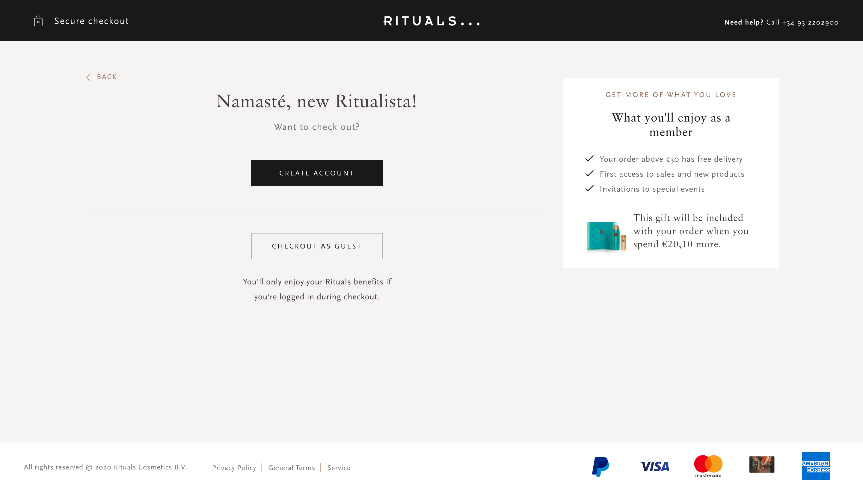 Rituals' checkout form - Create an account or checkout as guest