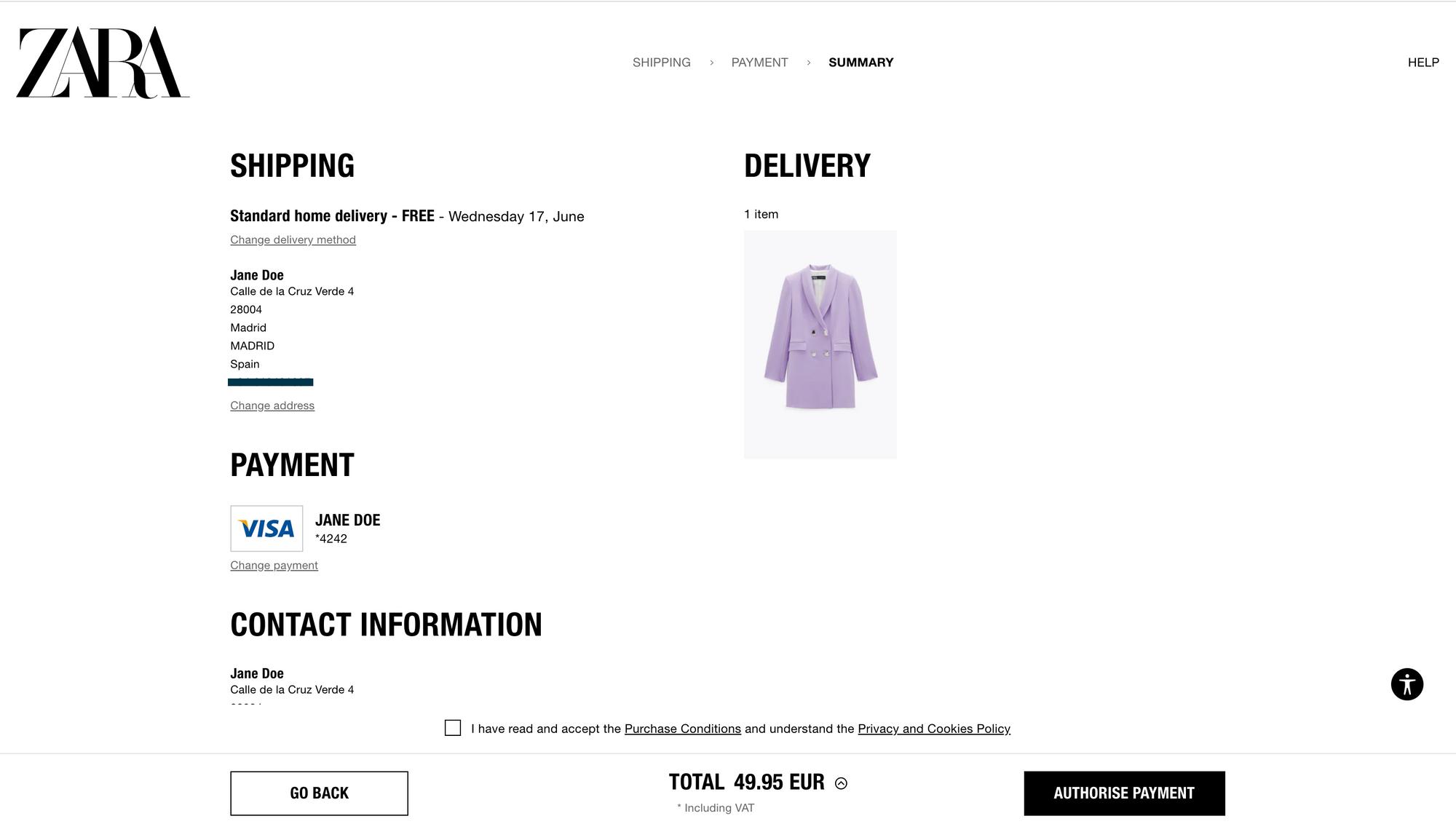 Zara's checkout form - The best ecommerce checkouts
