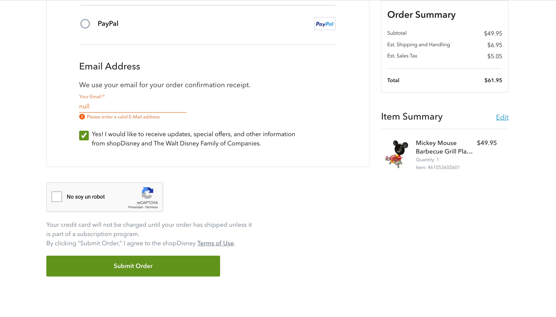 Disney's checkout form - Top 5 best ecommerce checkout forms