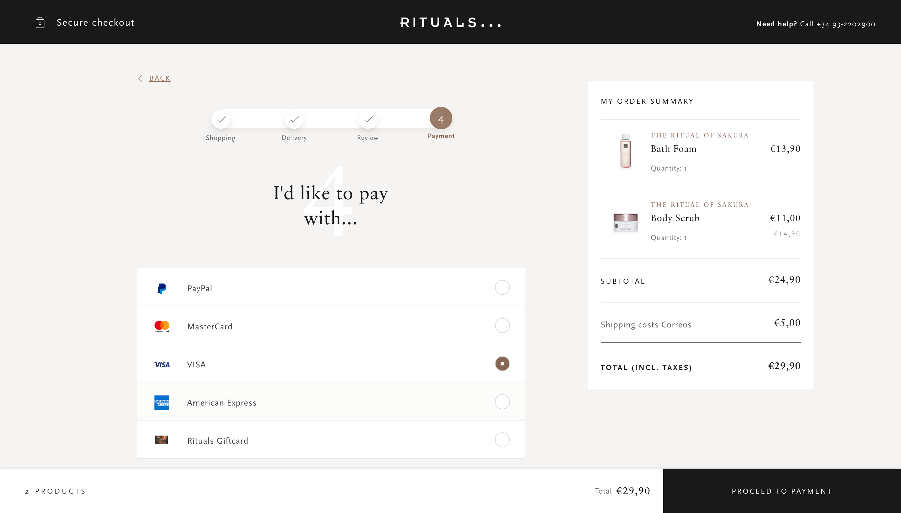 Rituals' checkout form - Checkout real examples