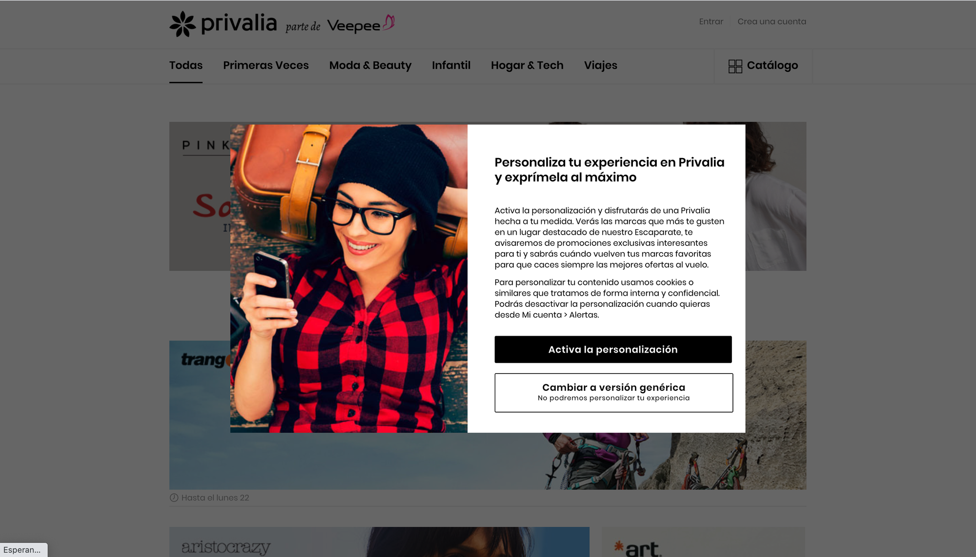 Privalia's signup form - Top best ecommerce signup forms