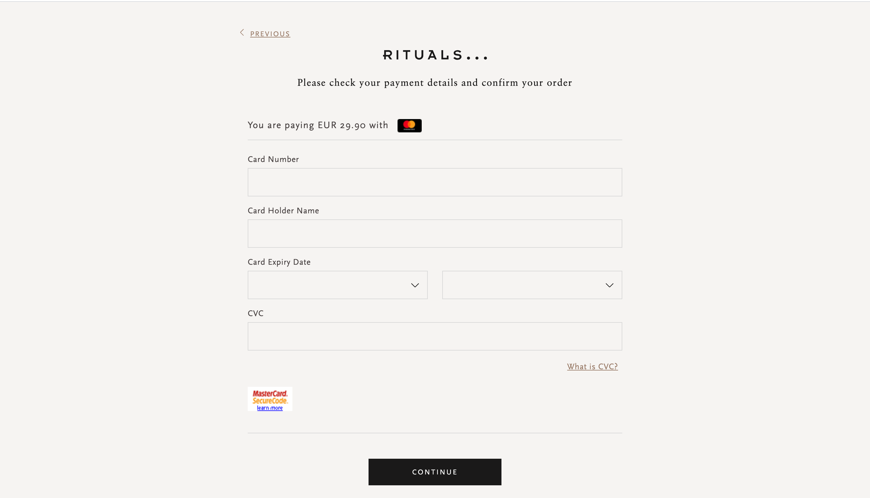 Rituals' checkout form - Best payment forms online