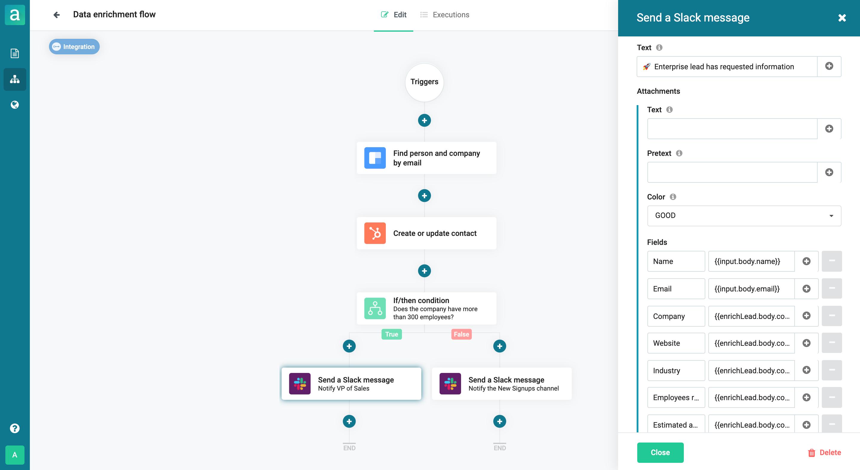 Data enrichment forms with integrations via API