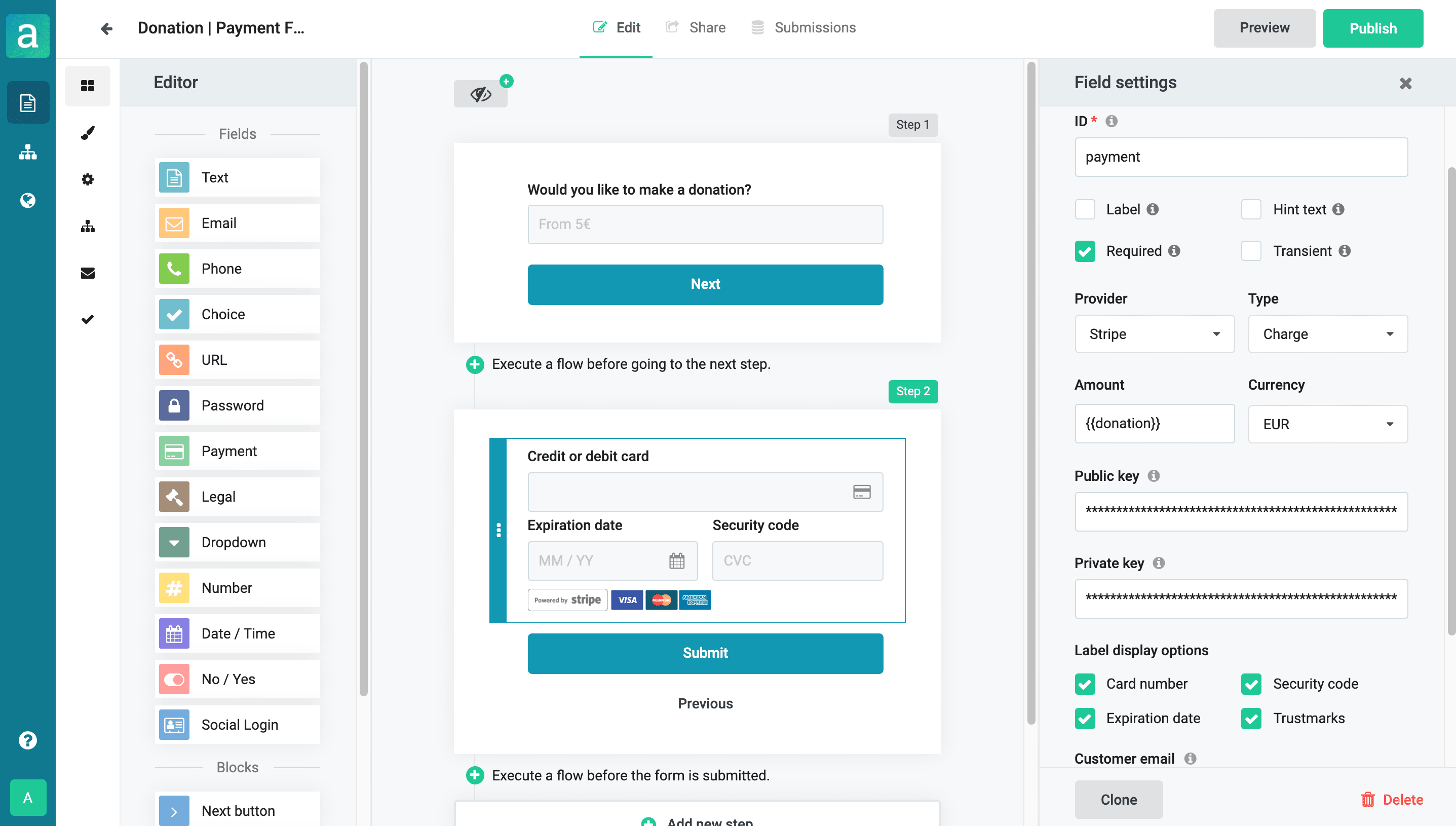 Payment form builder with dynamic payments
