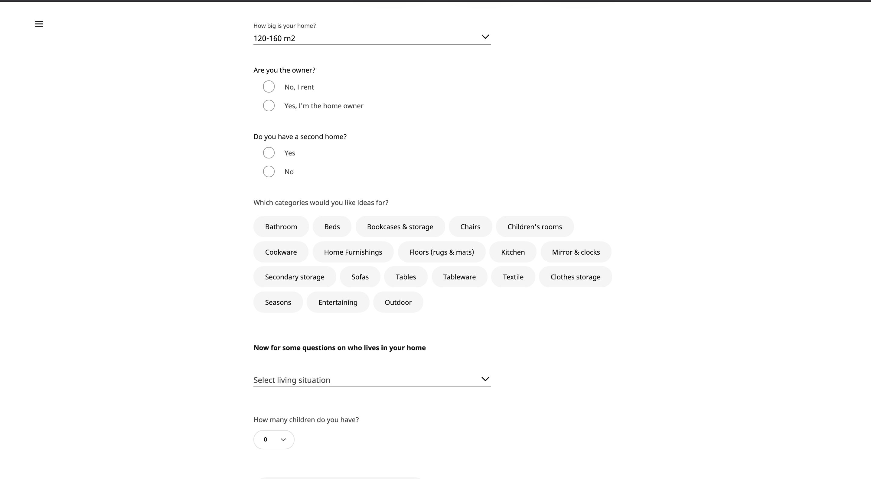 Progressive profiling form example - Ikea