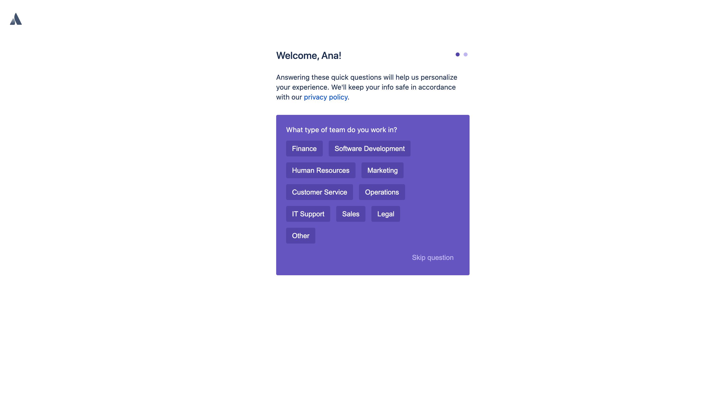 Progressive profiling afer logging in (Atlassian, Jira)