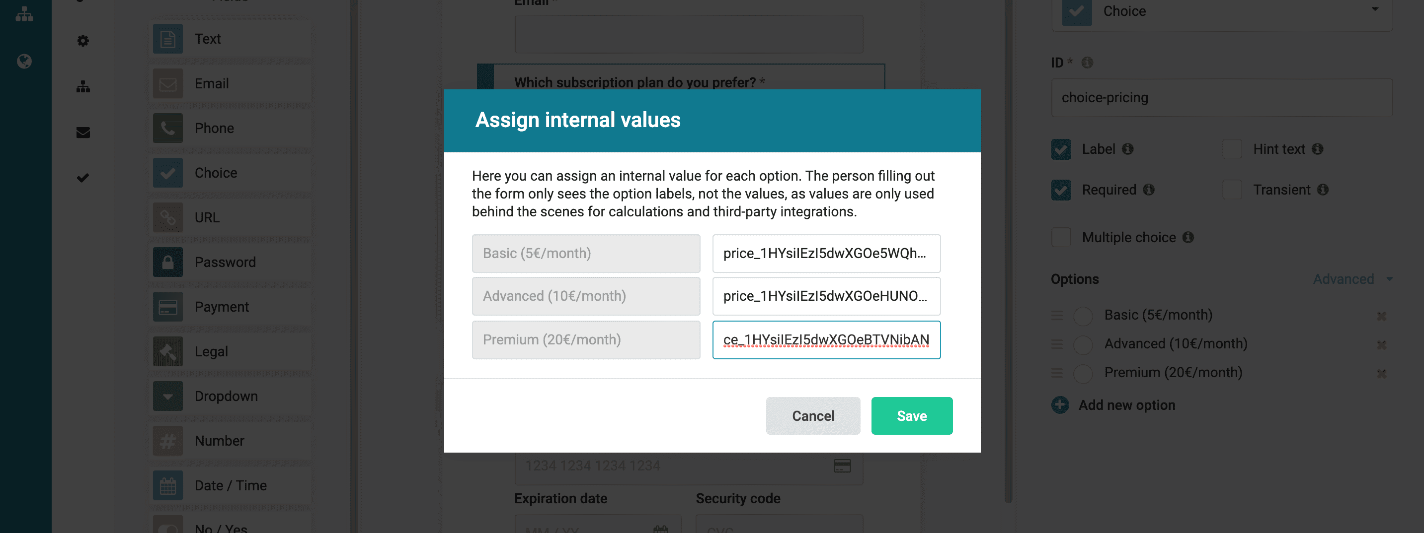Dynamic payment – Payment form
