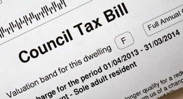 Black and white council tax bill for North London.