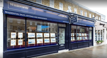 Outside blue exterior of Winkworth in St Johns Wood