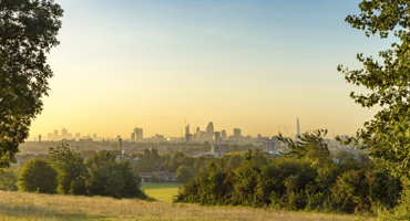 Skyline view of London from Hampstead Heath