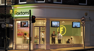Outside night view of Foxtons in Hampstead