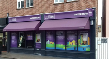 Outside of Chestertons estate agent in Hampstead