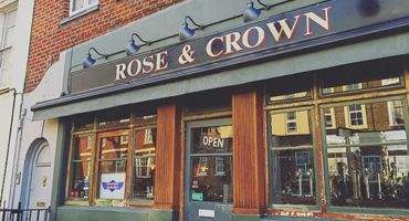 The outside of Rose and Crown pub in Kentish Town which exposes beautiful brick work and 1920's font.