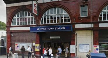 People rushing to work outside Kentish Tube Station.