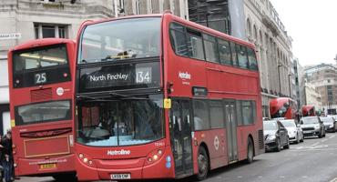 134 London red bus travelling through London City to Kentish Town.