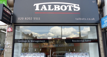 Outside of Talbots estate agent in Hendon.