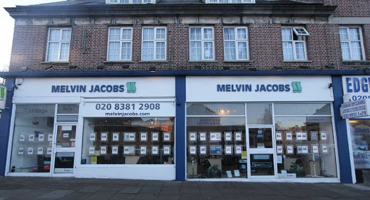 Outside of Melvin Jacobs estate agent in Edgware.