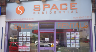 Shop front of Space Residential in Edgeware.
