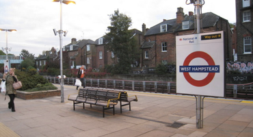 Women walking on the platform at West Hampstead tube sation.
