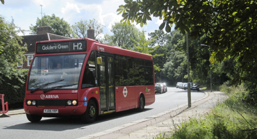 H2 red London bus travelling to Hampstead Garden Suburb.