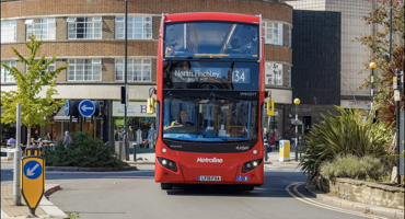 134 London red bus at the Muswell Hill roundabout