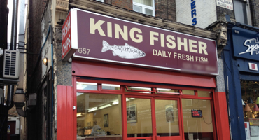 Outside of King Fisher in Archway.