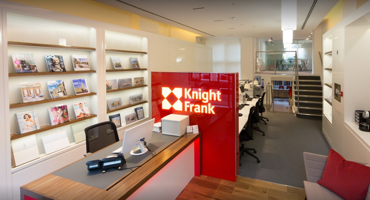 Empty reception desk inside the Knight Frank office in Belsize Park.