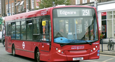 251 London red bus travelling from Totteridge to Edgware.