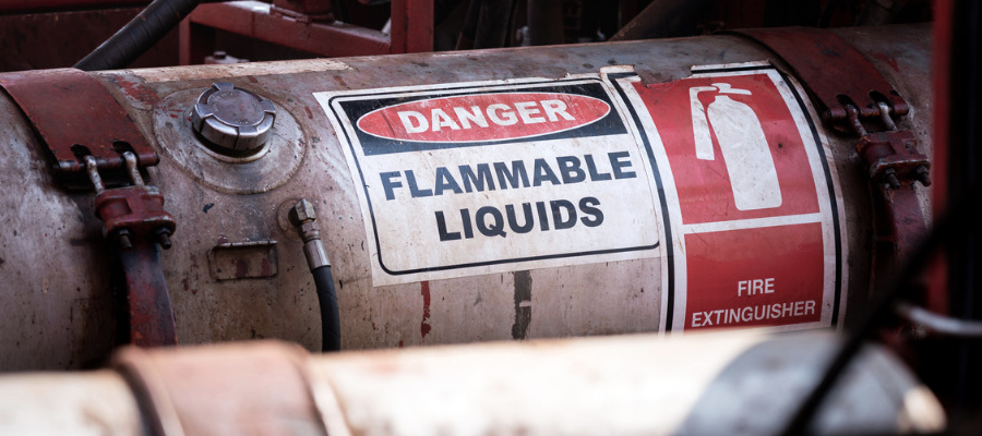 Flammable liquids not allowed to be handled removal companies