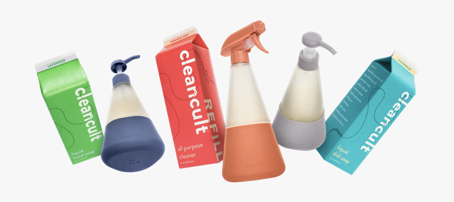 Three different coloured household cleaners