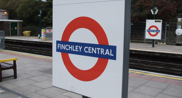 Sign for Finchley Central tube station.