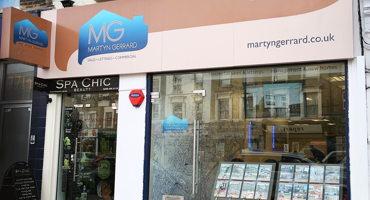 Martyn Gerrard estate agent shop front in North Finchley, London.