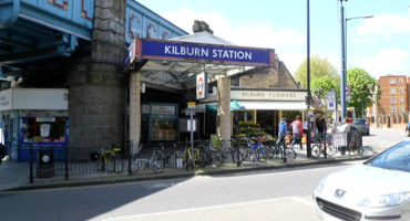 Exterior of Kilburn Tube Station on Kilburn High Road.