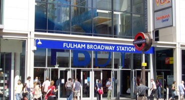 Exterior of Fulham Broadway Station in London.