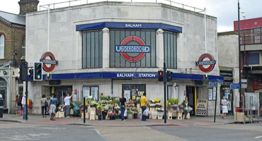 Entrance for Balham Station in South London.
