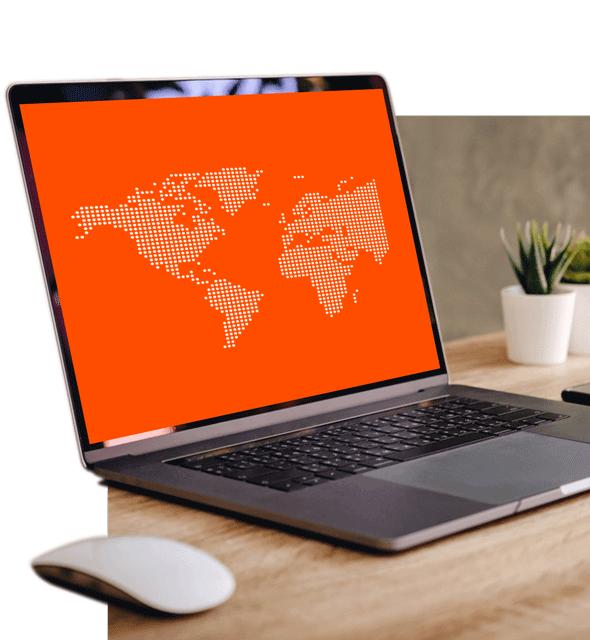 Hero laptop with orange map.