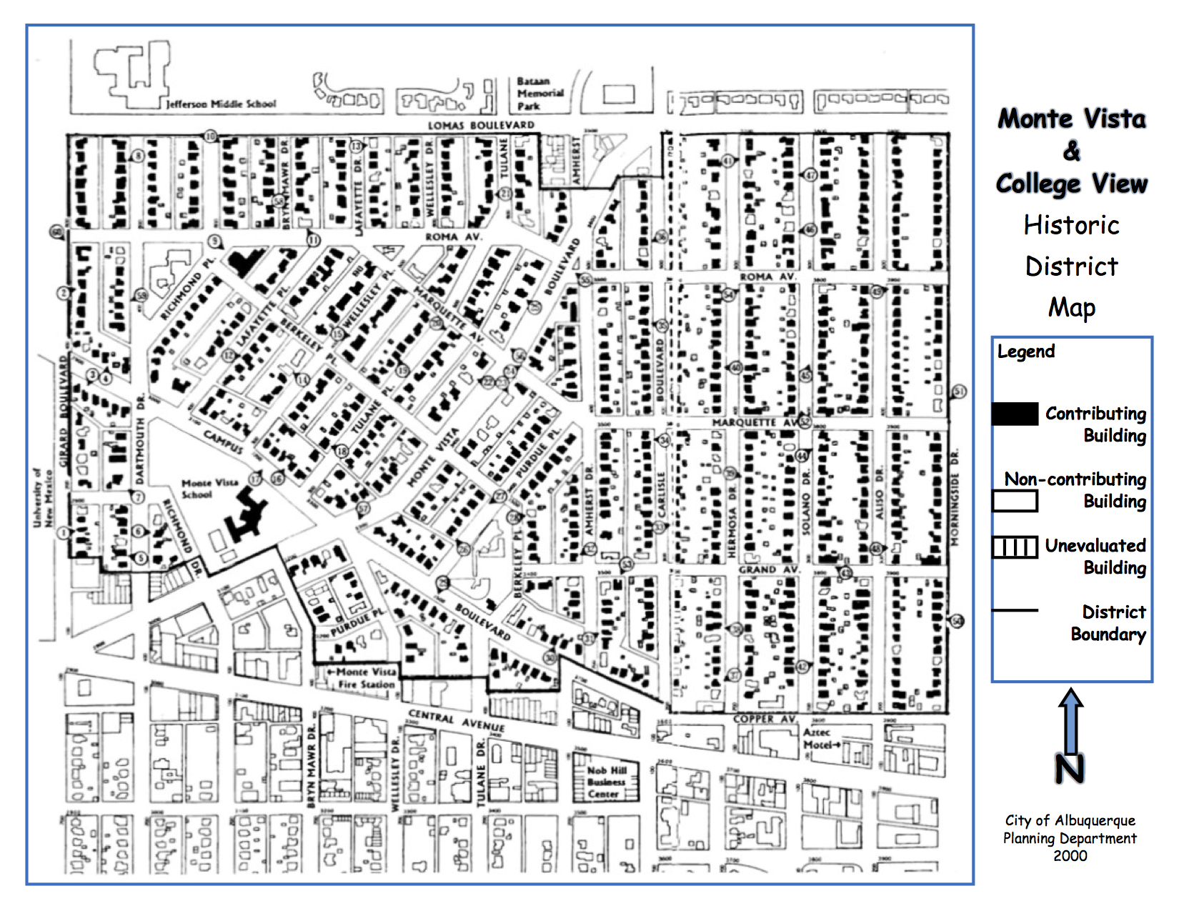 Monte Vista & College View Historic District Map