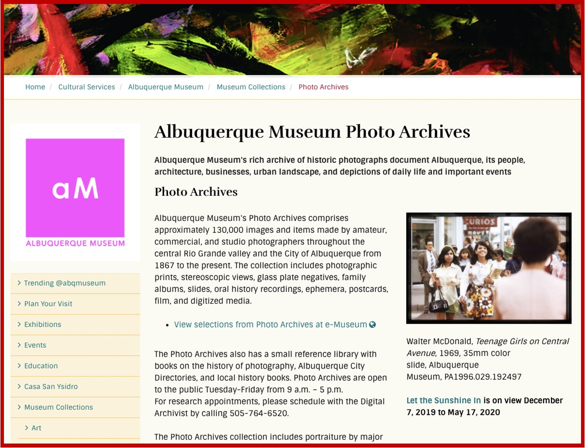 ABQ Museum Photo Archive Link