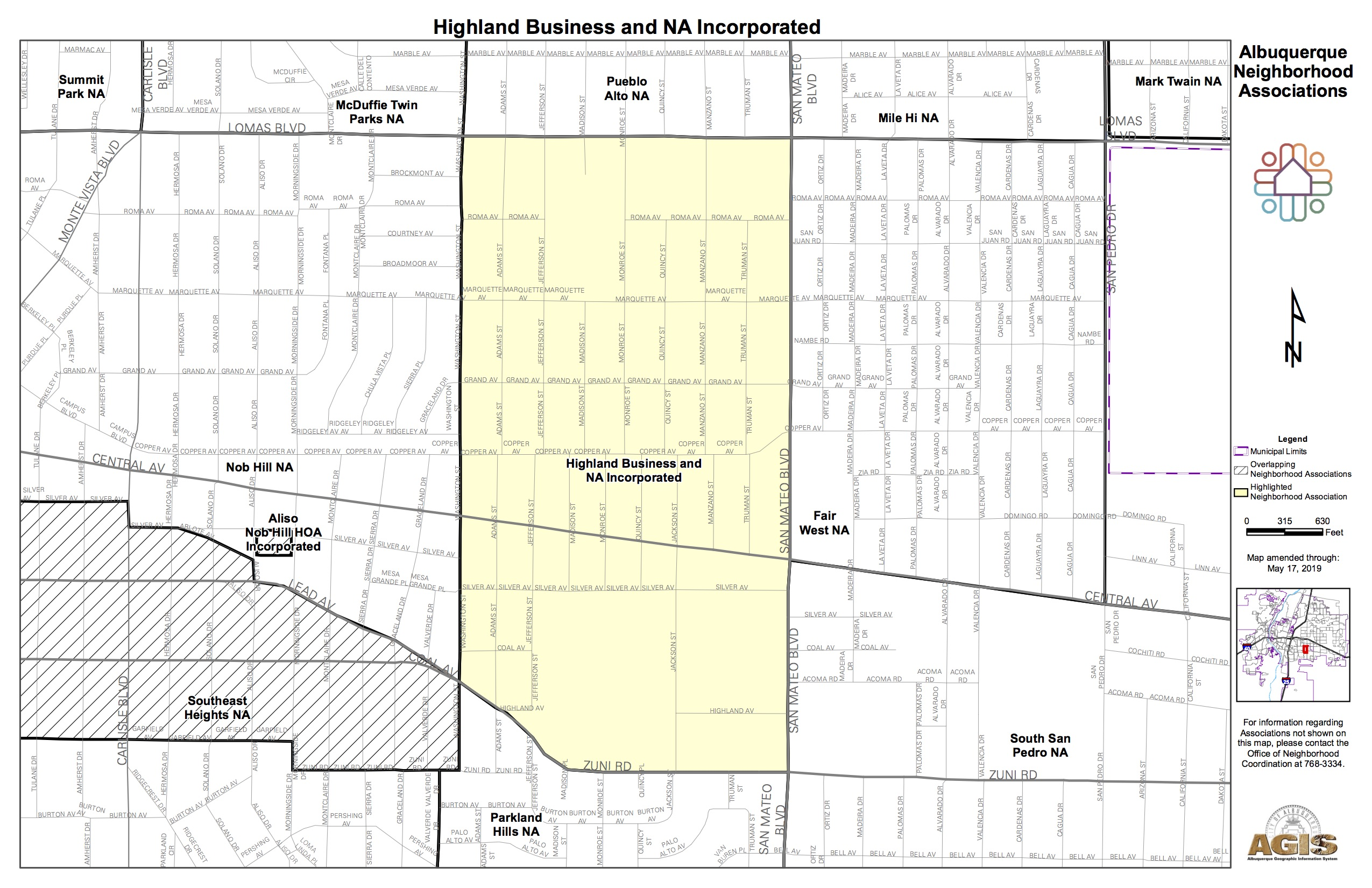 Adjacent Nob Hill Neighborhood Association Highland Business Map