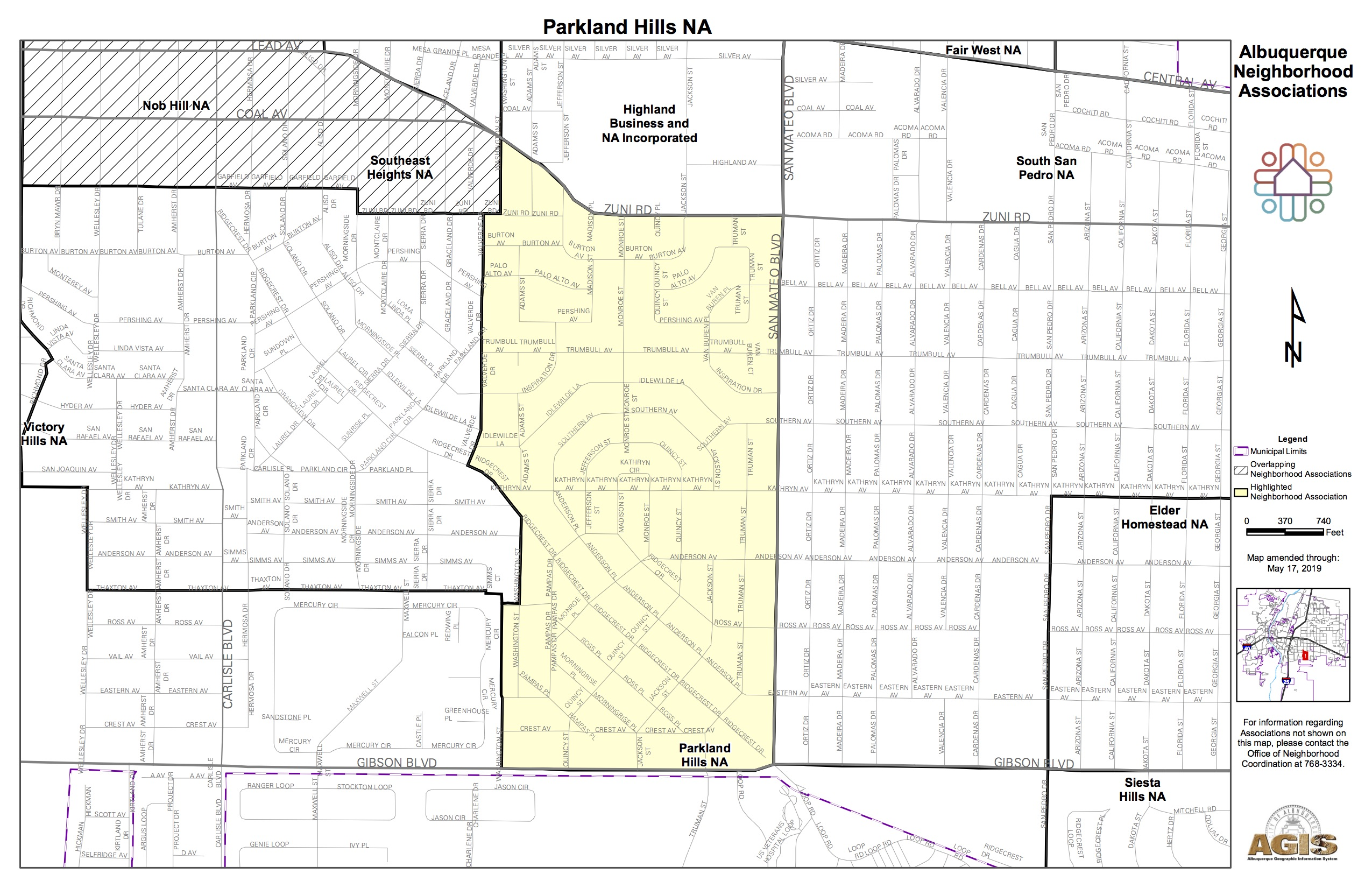 Adjacent Nob Hill Neighborhood Association Parkland Hills Map