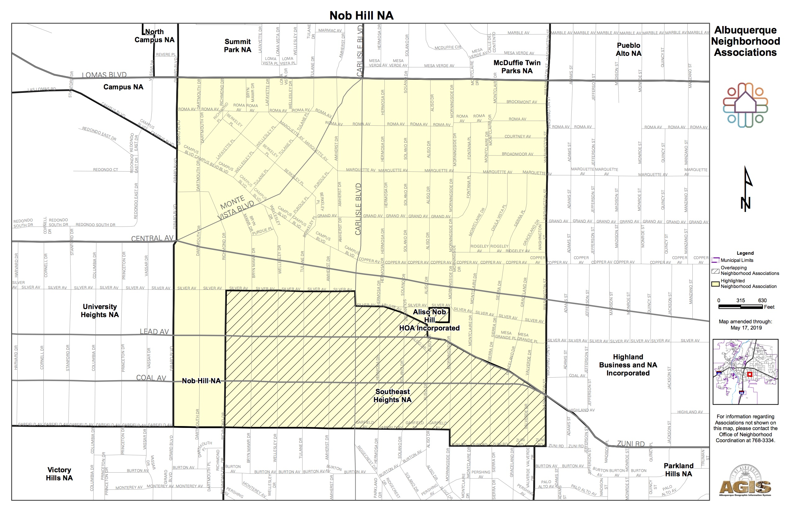 Adjacent Nob Hill Neighborhood Association SE Heights Map