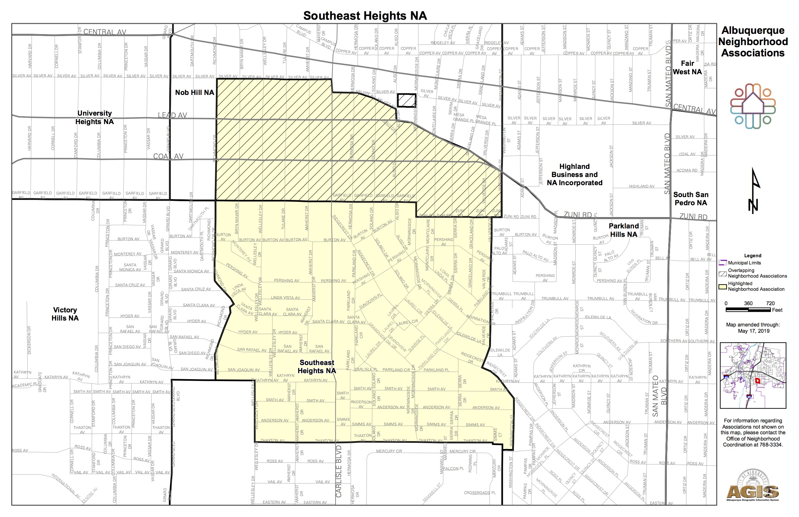 Adjacent Nob Hill Neighborhood Association Southeast Heights Map